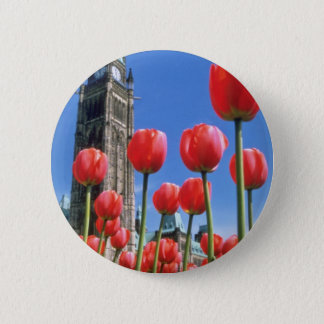 White Canadian Tulip Festival, Peace Tower with tu 2 Inch Round Button