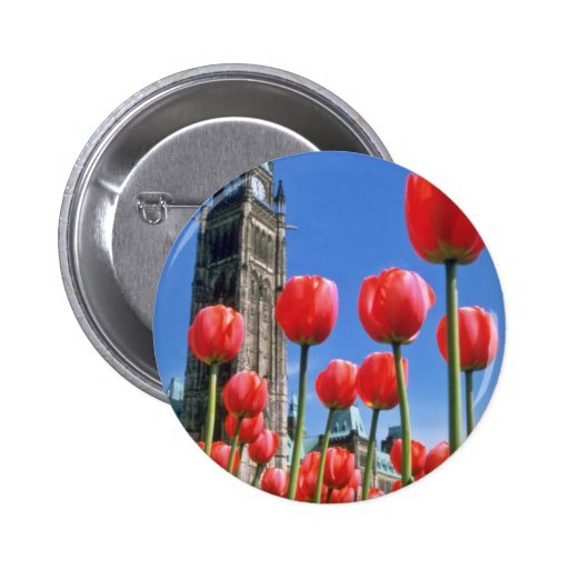 White Canadian Tulip Festival, Peace Tower with tu Pinback Buttons