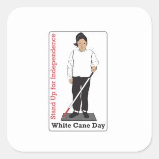 White Cane Day Square Sticker