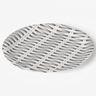 White cane wicker 9 inch paper plate