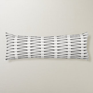 White cane wicker body pillow