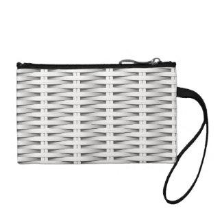 White cane wicker coin purse