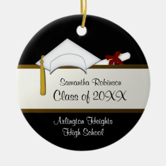 White Cap Graduation Ornament