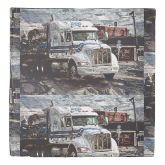 White Cargo Lorry on Highway Duvet Cover