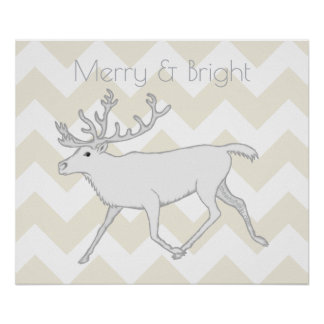 White Caribou Christmas Decor Merry And Bright Poster