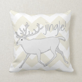 White Caribou Christmas Fun Reversible Monogram Throw Pillow