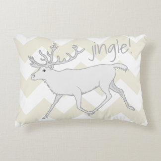White Caribou Christmas Holiday Fun Reversible Decorative Pillow
