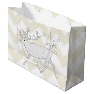 White Caribou Christmas Merry Chevron Pattern Large Gift Bag