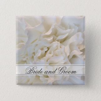 White Carnation Floral Wedding 2 Inch Square Button