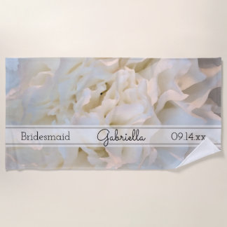 White Carnation Floral Wedding Bridesmaid Beach Towel