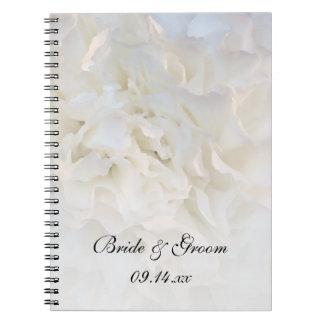 White Carnation Floral Wedding Notebook