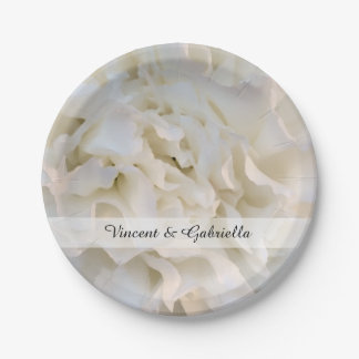 White Carnation Floral Wedding Paper Plate