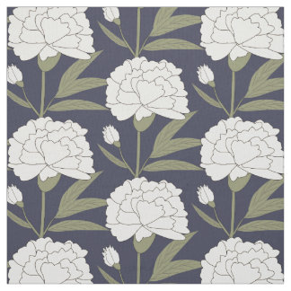 White Carnations Fabric