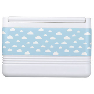 White Cartoon Clouds on Blue Background Pattern
