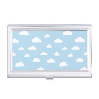 White Cartoon Clouds on Blue Background Pattern Business Card Holder