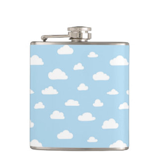 White Cartoon Clouds on Blue Background Pattern Hip Flask