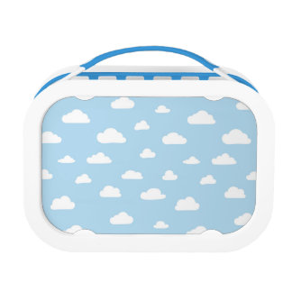 White Cartoon Clouds on Blue Background Pattern Lunch Box