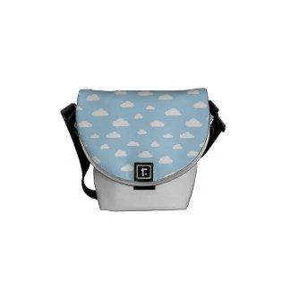 White Cartoon Clouds on Blue Background Pattern Messenger Bag