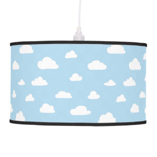 White Cartoon Clouds on Blue Background Pattern Pendant Lamp