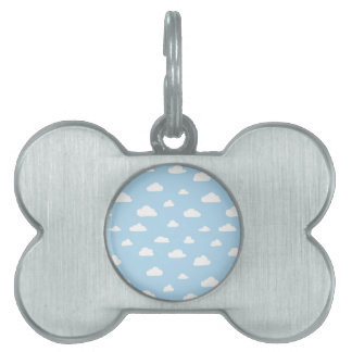 White Cartoon Clouds on Blue Background Pattern Pet Name Tag