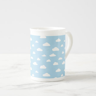 White Cartoon Clouds on Blue Background Pattern Tea Cup