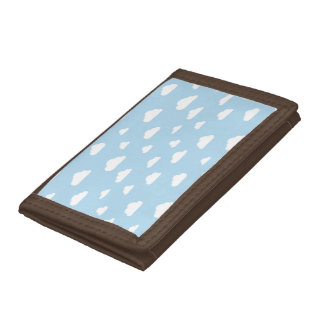 White Cartoon Clouds on Blue Background Pattern Trifold Wallets