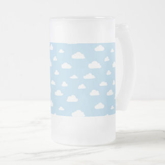 White Cartoon Clouds on Light Blue Background Patt Frosted Glass Beer Mug