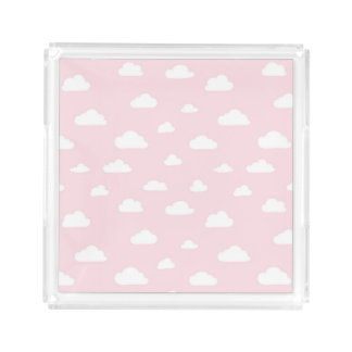 White Cartoon Clouds on Pink Background Pattern Acrylic Tray