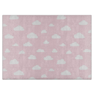 White Cartoon Clouds on Pink Background Pattern Boards