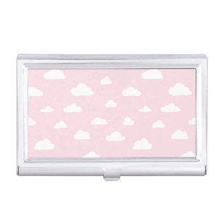 White Cartoon Clouds on Pink Background Pattern Business Card Holder