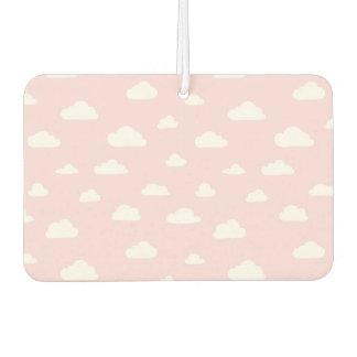 White Cartoon Clouds on Pink Background Pattern Car Air Freshener