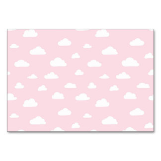 White Cartoon Clouds on Pink Background Pattern Card