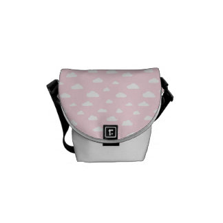 White Cartoon Clouds on Pink Background Pattern Courier Bag