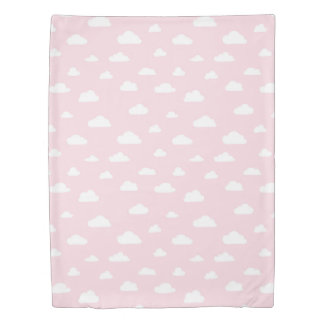 White Cartoon Clouds on Pink Background Pattern Duvet Cover