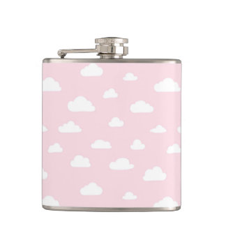 White Cartoon Clouds on Pink Background Pattern Hip Flask