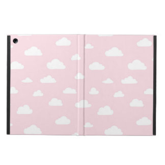 White Cartoon Clouds on Pink Background Pattern iPad Air Cover