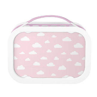 White Cartoon Clouds on Pink Background Pattern Lunch Box