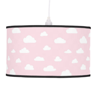 White Cartoon Clouds on Pink Background Pattern Pendant Lamp