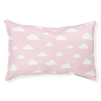 White Cartoon Clouds on Pink Background Pattern Pet Bed