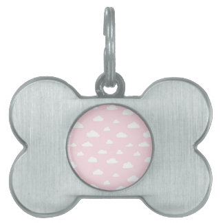White Cartoon Clouds on Pink Background Pattern Pet ID Tag