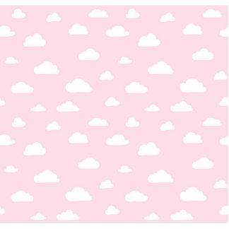 White Cartoon Clouds on Pink Background Pattern Photo Sculpture Button