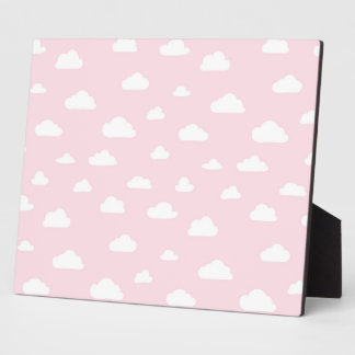 White Cartoon Clouds on Pink Background Pattern Plaque