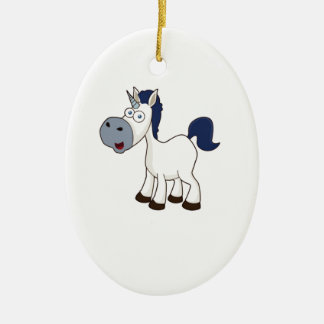 white cartoon horse ceramic oval ornament