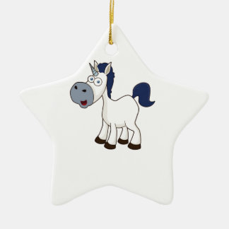 white cartoon horse ceramic star ornament