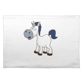 white cartoon horse placemat