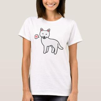 White Cartoon Siberian Husky Love T-Shirt