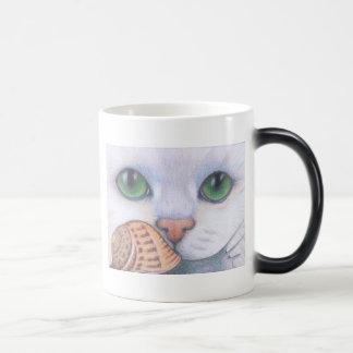 White cat and snail Mug