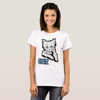 White Cat Animal Print Garments Merchandises T-Shirt