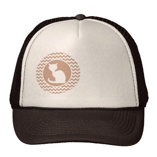 White Cat; Brown Chevron Trucker Hat
