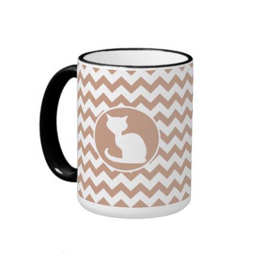 White Cat; Brown Chevron Coffee Mug